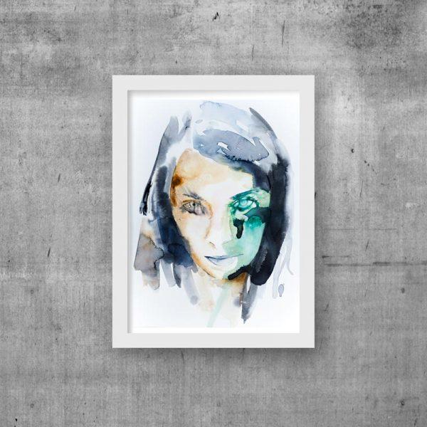 abstract portrait unique modern art print