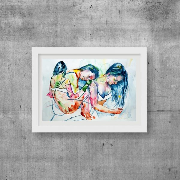 art print nude modern watercolour