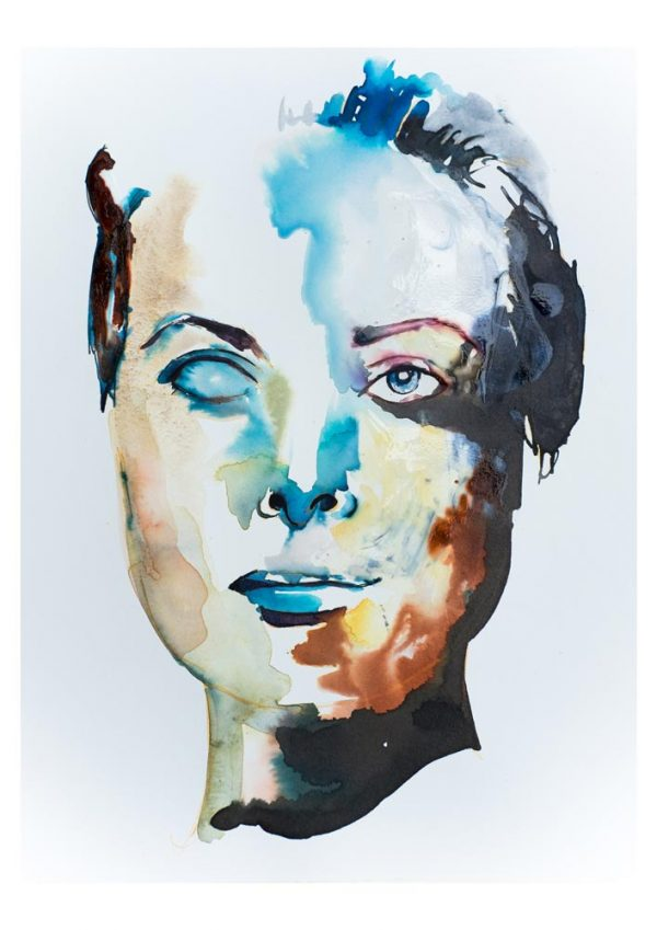 portrait abstract art watercolour modern print buy