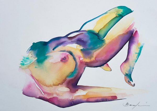 original painting on sale unique nude watercolour